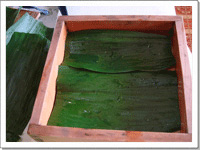 [画像]桶の中にバランの葉をひきます。