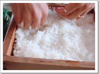 [画像]寿司飯を薄くひきます。